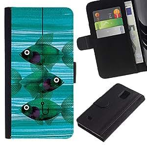 Paccase / Billetera de Cuero Caso del tirón Titular de la tarjeta Carcasa Funda para - Fishing Meaning Teal Hook Deep - Samsung Galaxy Note 4 SM-N910
