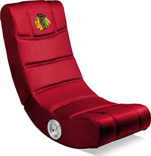 Imperial Officially Licensed NHL Furniture: Ergonomic Video Rocker Gaming Chair with Bluetooth, Chicago Blackhawks