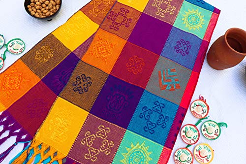 (Mexican Table Runner – Bohemian Table Runner – Boho Rainbow Aztec Runners – Serape Colourful Striped Cotton Runner for Mexican Fiesta Decorations and for Wedding Décor Turquoise Yellow Fucsia)