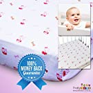 "Soft & Breathable Baby Crib Sheets for Deep Sleep. Muslin Cotton Fitted Sheet For Boy & Girl. Cute & Fancy Print With 9"" Elastic Pocket To Give Snug Fit. Buy Matching Swaddle, Bibs for Holidays Gifts"