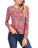 FISOUL Womens Tops Floral Print Long Sleeve Blouses Casual Shirts Basic Tee