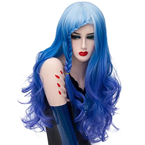 (COSPLAZA Waterfall Braid Long Wavy White Roots Cosplay Wig Pastel Blue Spirals)