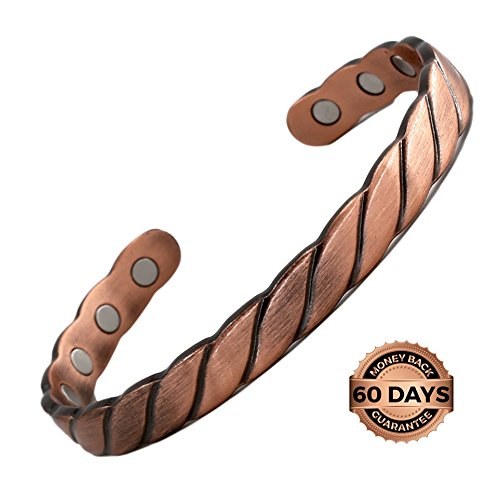 Reevaria - GUARANTEED 99.9% PURE Copper Twisted Magnetic Cuff Bracelet For Men Women, with 8 Magnets 3500 Gauss- Recovery and Pain Relief - Arthritis, Golf and other sports Injuries, Carpal (Arthritis Golf Bracelet)