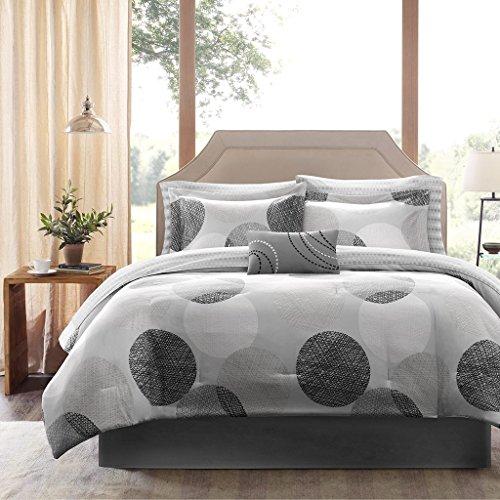 9 Piece Grey Black White Dots Theme Comforter Queen Set, Chi