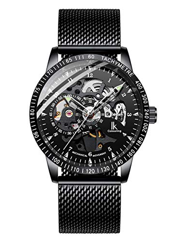 Luxury Men Watches Business Casual Black Mesh Bracelet Automatic Mechanical Skeleton Wristwatch (Black)