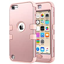 iPod Touch 6 Case,iPod Touch 5 Case,ULAK [Colorful Series] 3-Piece Style Hybrid Silicon Hard Case Cover for Apple iPod Touch 5 6th Generation_2015 Realeased (Rose gold)