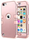 ULAK Case for iPod Touch 6 & 5th Generation, Anti Slip Anti-Scratch iPod Touch Case Shockproof Protective Cover with Hybrid High Soft Silicone + Hard PC Case (Rose Gold)