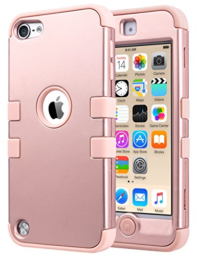 (ULAK Case for iPod Touch 6 & 5th Generation, iPod Touch Case (2019 Released), Anti Slip Anti-Scratch Shockproof Protective Cover with Hybrid High Soft Silicone + Hard PC Case (Rose Gold))