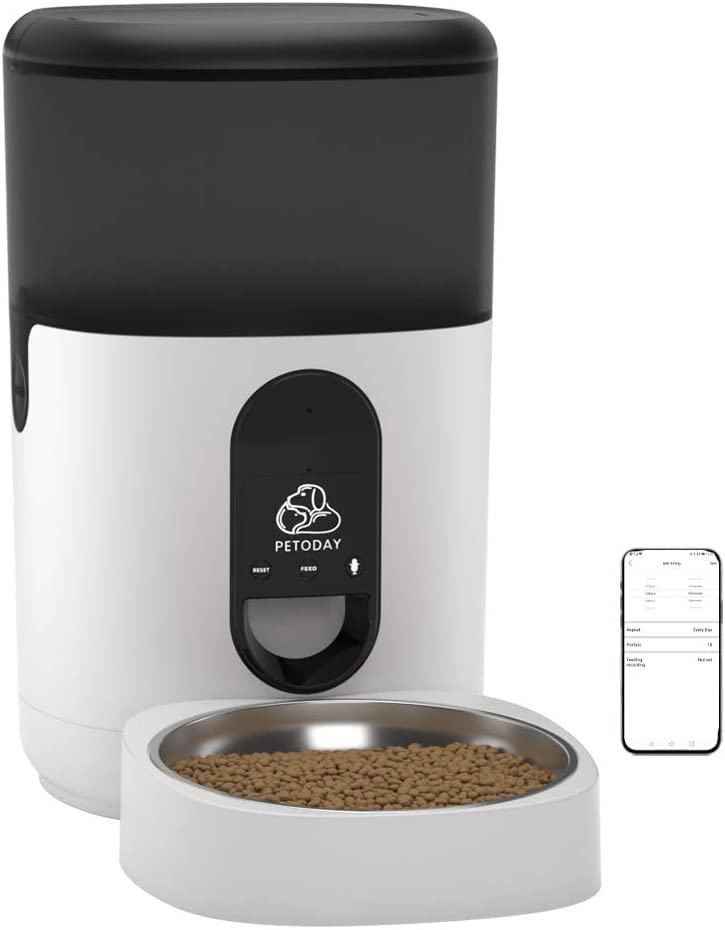 PETODAY Automatic Cat Feeder, Timed Cat Puppy Food Dispenser with App Control and Stainless Steel Bowl, Smart Pet Feeder with Portion Control, Up to 8 Meals Per Day and 9s Voice Recorder (4L)
