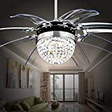 Cheap Arkonfire Crystal Retractable Ceiling Fan 8 Acrylic Invisible Blades and Remote Home Decor for Bedroom Hotel Silent Modern Fan Chandelier 42 Inch