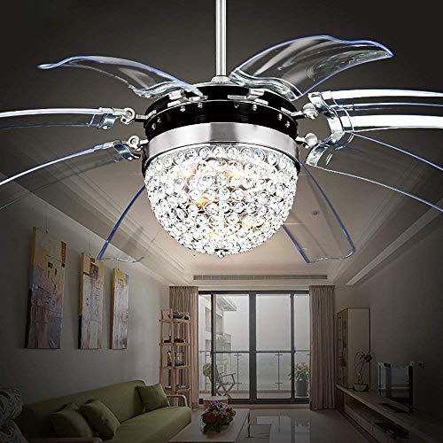Crystal Ceiling Fan with Light 42 Remote Modern Dimmable LED Ceiling Fan Chandelier 8 Retractable Blades Timing Function for Bedroom Living Room Dining Room