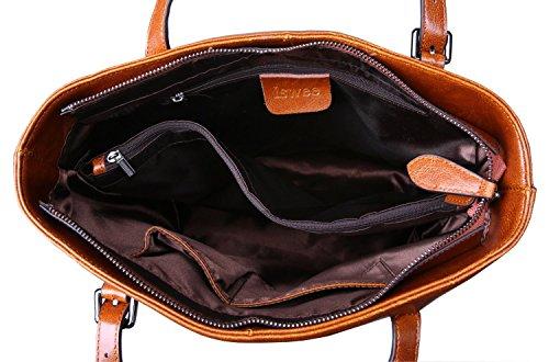 Iswee Leather Shoulder Bag Work Tote Handbag Top Handle Satchel Macbook Bags  for Women (Brown 28da74f3746fe
