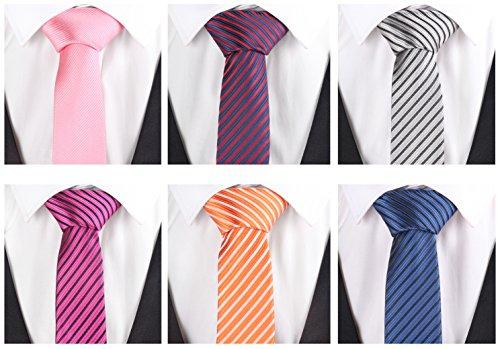Skinny Adult Man Suit (Men's Stripe Necktie Business Suit Skinny Slim Ties Cravat Mixed Set 6 Pack (Tie set)