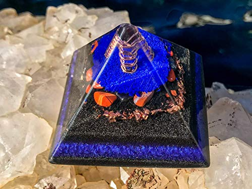 Shungite Orgonite Pyramid - Orgone EMF Protection Orgone Pyramid with Healing Crystals - Violet Flame Orgone ()
