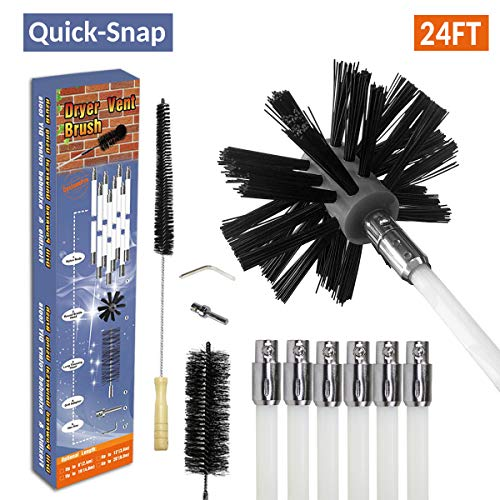 24FT Rotary Dryer Vent Lint Brush, 12-Piece Dryer Duct Cleaning System kit Extend Plus 23.5 inch Flexible Wire Shaft Brush (24FT)