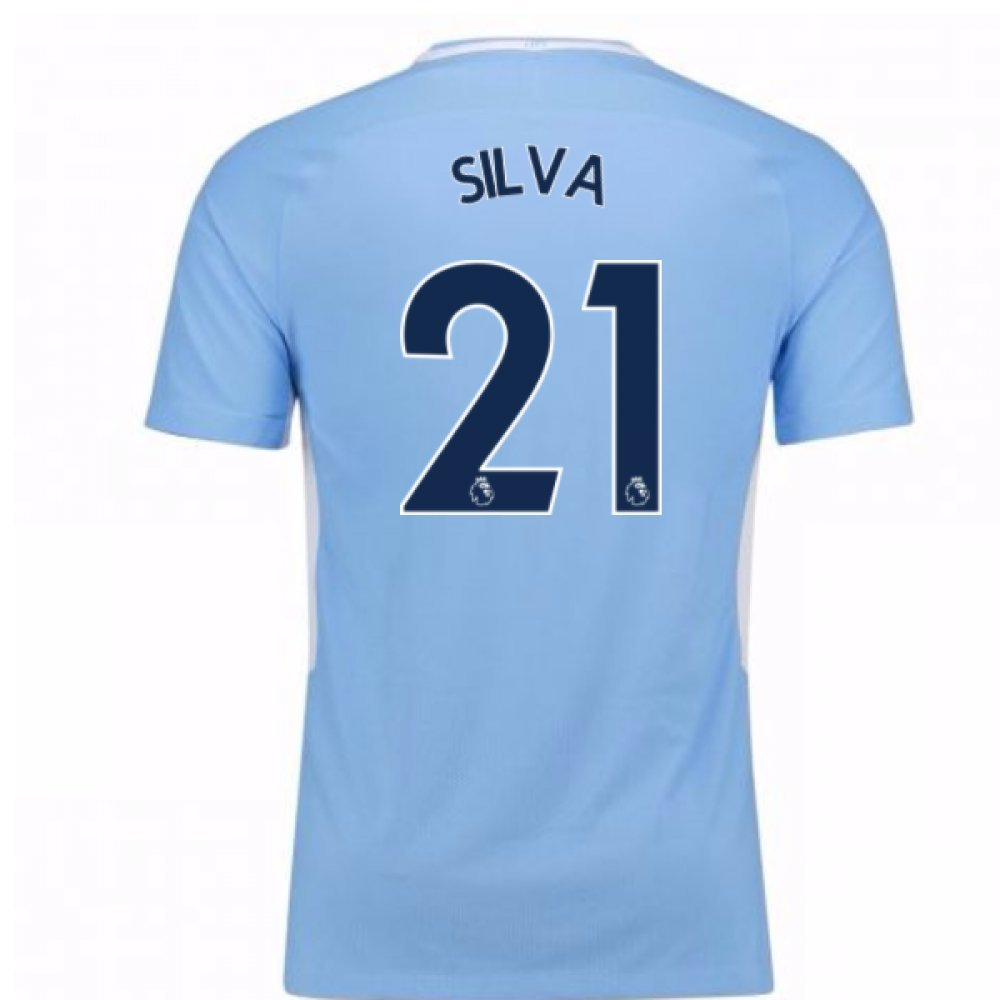 2017-18 Man City Home Football Soccer T-Shirt Trikot - Kids (David Silva 21)
