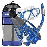 U.S. Divers Cozumel Snorkeling Set. Adult Snorkel Mask, Snorkel, Fins, and Travel Bag, Medium 6.5 - 8, Electric Blue
