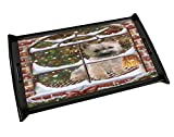 Please Come Home For Christmas Cairn Terrier Sitting In Window Black Wood Serving Tray
