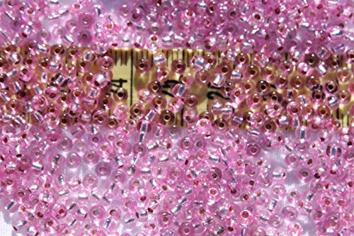 8/0 Vintage Czech Silver Lined Rose Pink Glass Seed Beads Loose 1oz Jewelry Making Beads Earrings, Necklaces Bracelets. ()