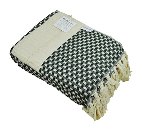 Turkish Throw Blanket Made from 100% Turkish Cotton, Large Lightweight Handwoven Sofa Throw, Partial Bed Cover or Loveseat Blanket (Hunter Green) by InfuseZen