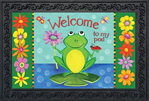- Briarwood Lane Welcome to My Pad Summer Doormat Indoor Outdoor Frog Lily Pad 18