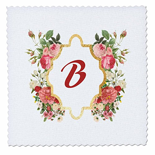 Individual Monogram Letter (Anne Marie Baugh - Monogram - Chic Monogram Letter B In A Gold Flowered Frame On White - 14x14 inch quilt square)