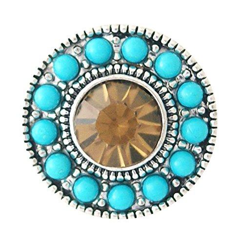 Chunk Snap Charm Dark Topaz Color Stone with Turquoise Border (Dark Topaz Rhinestone)
