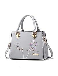 MICOM Elegance Floral Embroidered PU Leather Top Handle Bag Crossbody  Handbag for Women 9246c3a32dc59