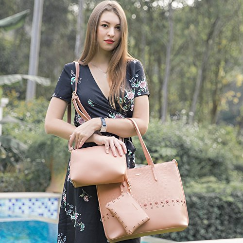 Women Handbags Top pink for 1 Shoulder Tote Zip 3 Set Top Satchel Handle Pieces Bag Bag Bag Purse Designer Travel 1qX5yXHwxt