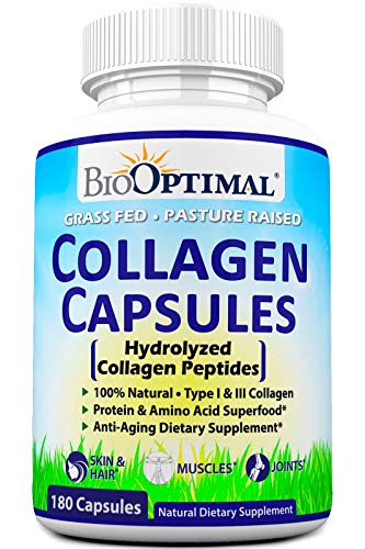 516aozIOZuL - BioOptimal Collagen Pills - Collagen Supplements, Grass Fed, 180 Capsules, Non-GMO, for Women & Men, Benefits Skin, Hair, Nails & Joints, Collagen Capsules, Premium Quality
