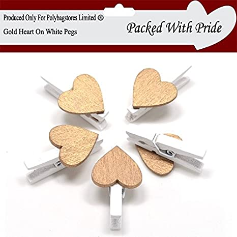 WHITE WOODEN CRAFT PEGS WITH COLOURED HEARTS 21 COLOURS TO CHOOSE FROM 30mm