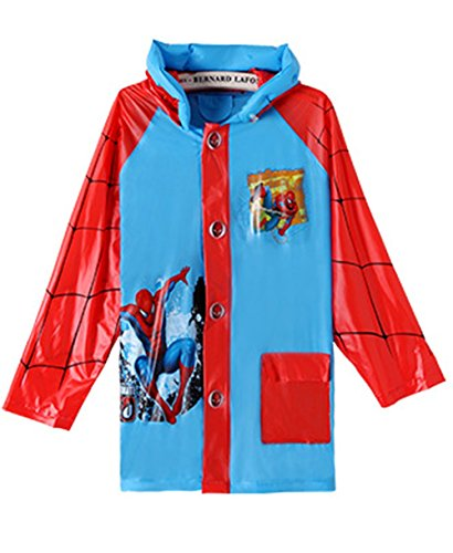 (Spiderman Boys Portable Cartoon Long Raincoat Rain Poncho with Hoods and Sleeves XL)