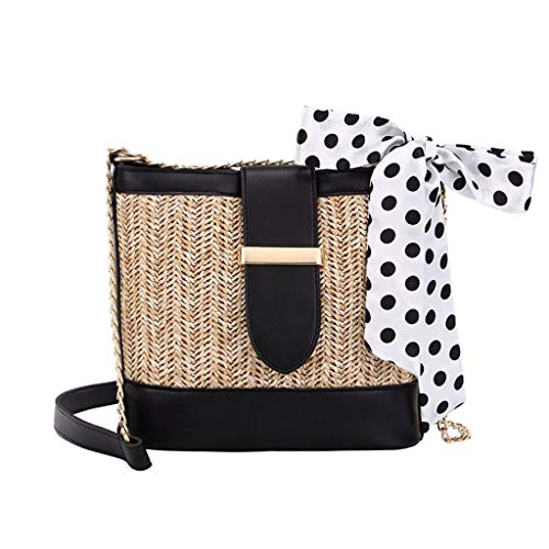 Swyss Vintage Straw Bags, Summer Beach Bag Woven Crossbody Shoulder Handwoven Bags Adjustable strap for Women 2019 NEW,Black (Best External Frame Backpack 2019)