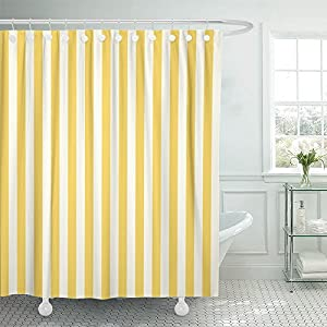Emvency Shower Curtain Waterproof White Stripe Striped Stamp Yellow Sleepwear Apparel and Other Products Vertical…