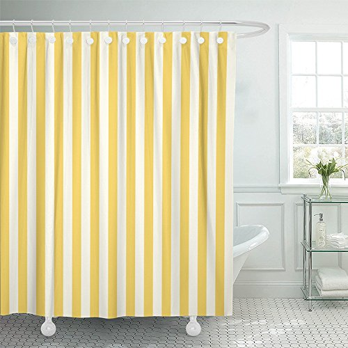 Shower Curtain Waterproof White Stripe Striped Stamp Yellow Sleepwear Apparel and Other Products Vertical Polyester Fabric 60 x 72 Inches Set with Hooks