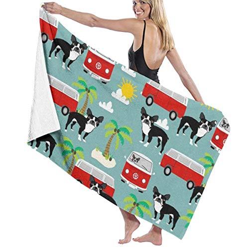 (KEIOO Boston Terrier Beach Towel Bath Towel Maximum Softness & Absorbency for Daily Use Outdoor Sports Travel Swim)