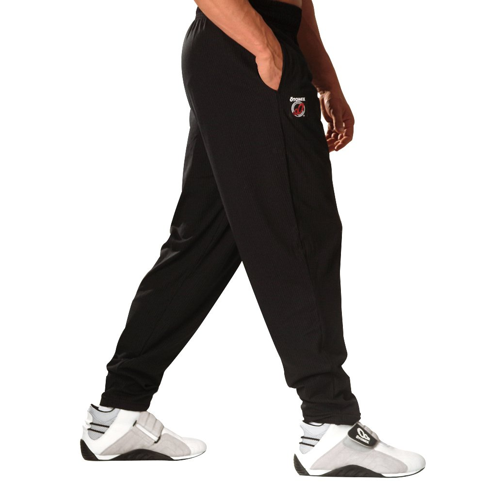 Otomix Men's Baggy Bodybuilding Muscle Workout Pants Solid 500BLACK-SM-$P