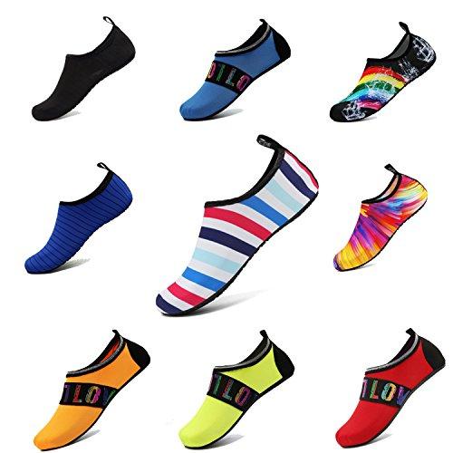 Adituo Zapatos De Deportes Acuáticos Calcetines Descalzos Aqua Piscina Playa Ejercicio De Natación Para Mujeres Y Hombres Raya