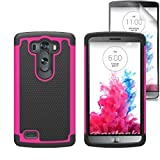 LG G3 Case, Hard Dual Layer Heavy Duty Rugged Rubber Silicone Hybrid Defender High Impact Shockproof Shatterproof Case With Screen Protector For LG G3 [PINK]