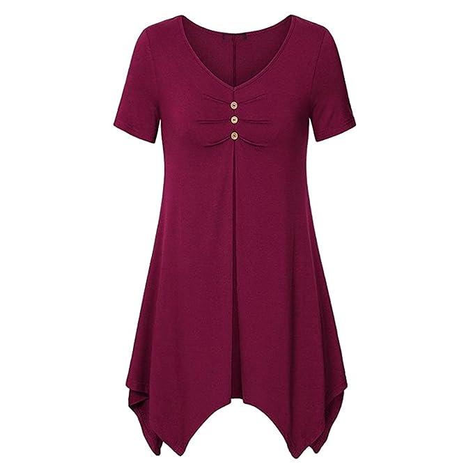 Hibote Mujer Camisas Plus Size Blusas Sling T-Shirts Tops Elegantes adelgazantes Blusas de Color
