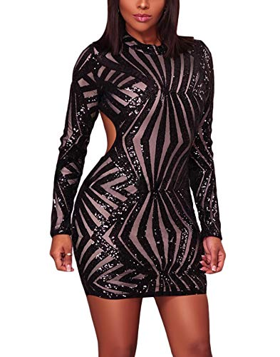 Bulawoo Women's Night Club Sexy Sequin Open Back Bodycon Long Sleeve Juniors Sequin Club Party Dress Small Black-891 ()