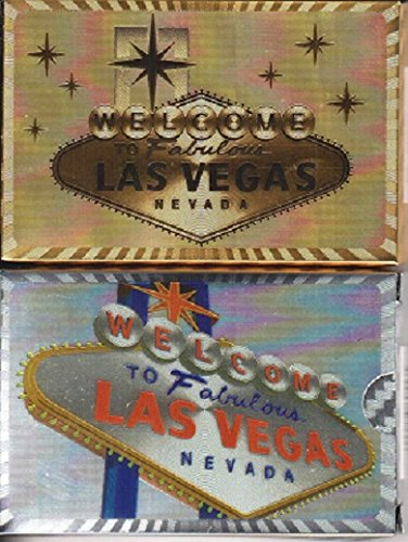 (WELCOME TO FABULOUS LAS VEGAS PLAYING CARDS 2 DECK SET (SHINY GOLD & SILVER))
