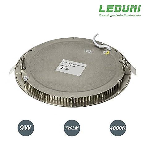 LEDUNI ® Pack 5 Unidades Downlight Panel LED NÍquel Redonda 9W 720LM Luz Neutra 4000K Angulo 120 IP44 145X145x22H MM Dimension de Corte 130x130MM: ...