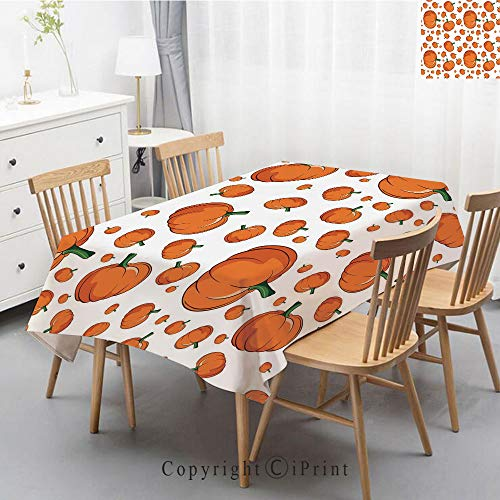 Wedding Party,Allover Print Christmas Fabric Tablecloth,Holly Berry Xmas Print Cloth Tablecloth,55x70 Inch,Harvest,Halloween Inspired Pattern Vivid Cartoon Style Plump Pumpkins Vegetable -