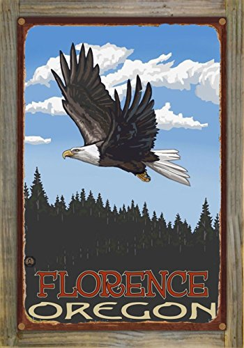 Northwest Art Mall Florence Oregon Eagle Soaring Forest Rustic Metal Print on Reclaimed Barn Wood by Paul A. Lanquist (12
