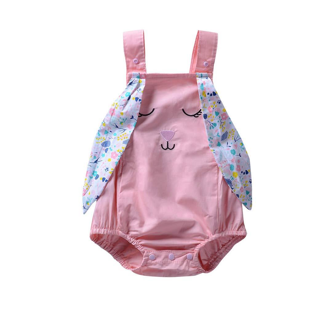 Lookvv Toddler Baby Girl Summer Clothes Rabbit Strap Romper Bodysuit Jumpsuit Easter Outfits (Pink, 6-12 Months)