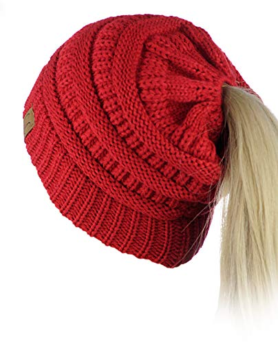 C.C BeanieTail Soft Stretch Cable Knit Messy High Bun Ponytail Beanie Hat (Red) - Red Knit Beanie Hat