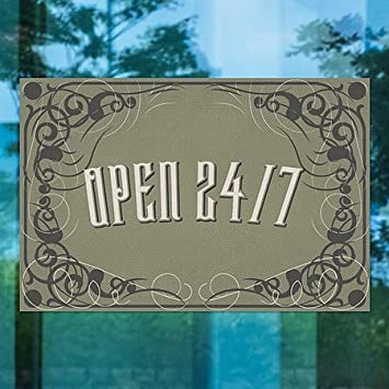 30x20 5-Pack Open 24//7 CGSignLab Victorian Gothic Perforated Window Decal