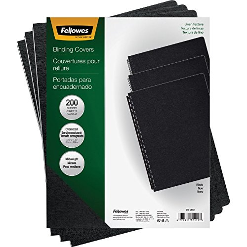 Fellowes 52115 Linen Texture Binding System Covers, 11-1/4 x 8-3/4, Black (Pack of 200) - Poly Binding Covers