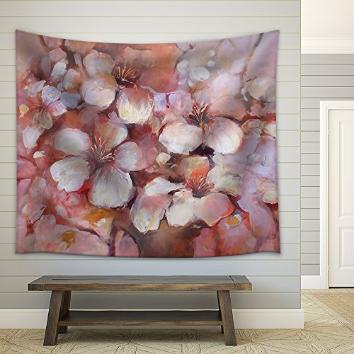 Almonds Blossom Handmade Oil Painting Fabric Wall